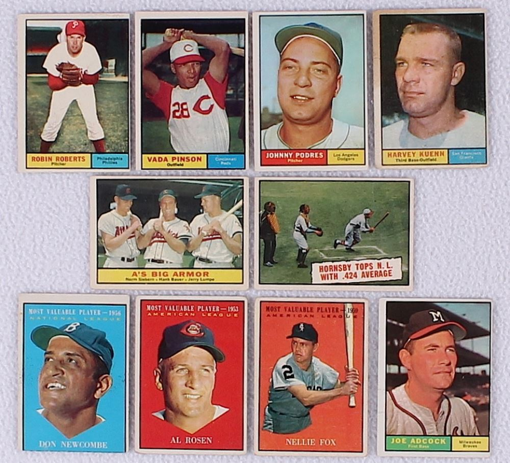 Lot Of 100 1961 Topps Baseball Cards With 20 Robin Roberts 110