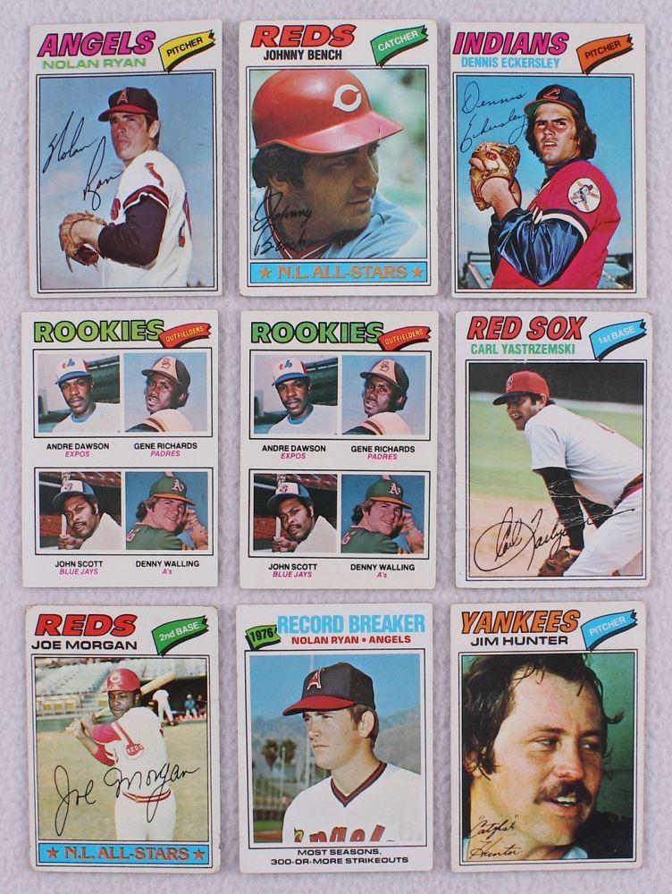 Lot Of 9 1977 Topps Baseball Cards With 650 Nolan Ryan 70