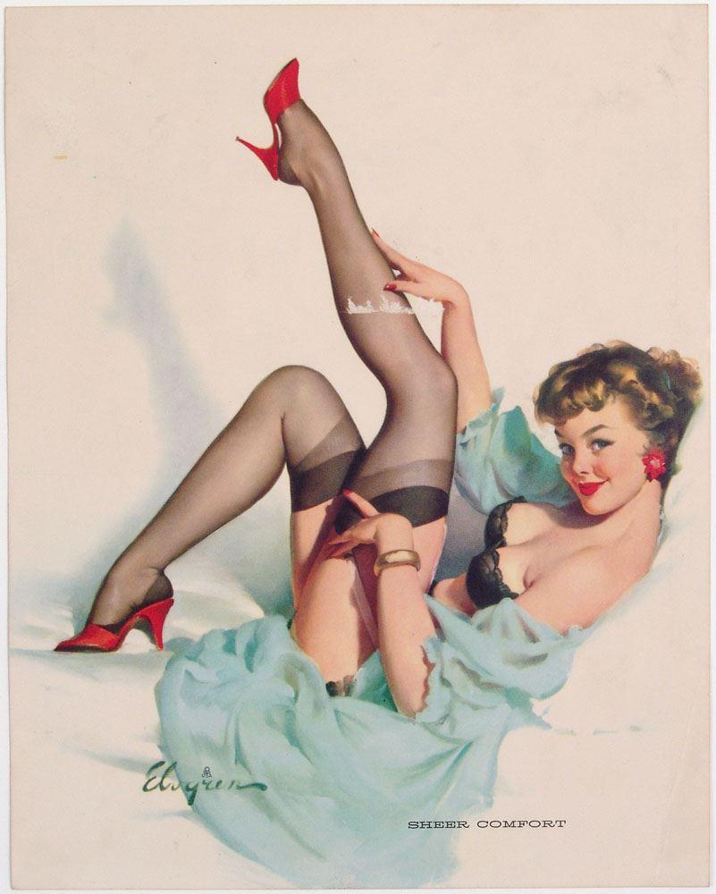 d043653a264 Image 1   Vintage 1959 Pin-Up ELVGREN Brunette Finds SHEER COMFORT