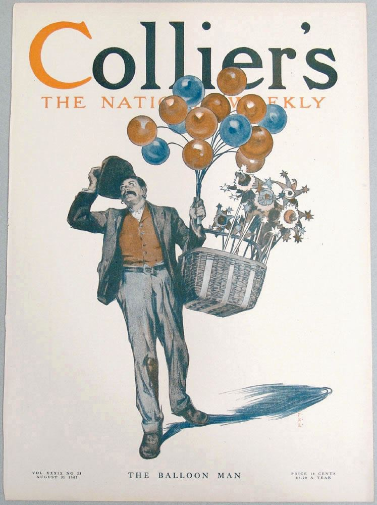 1907 COLLIER'S Cover 'The Balloon Man' by LEYENDECKER