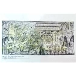 National Treasure Original Pencil Concept Drawing of Treasure Room