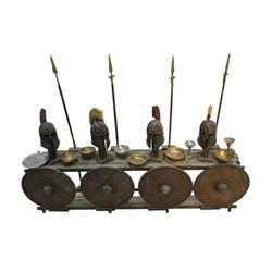 National Treasure Treasure Room Artifacts: Grecian Helmets, Spears & Shields