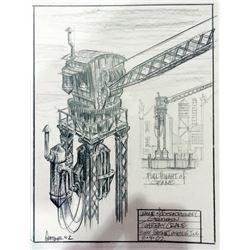 The League of Extraordinary Gentlemen Original Concept Drawing of Crane