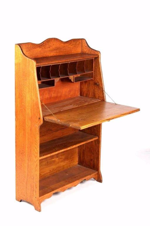 Antique Oak Drop Front Desk Book Shelf