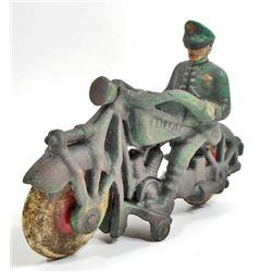 CAST IRON CHAMPION MOTORCYCLE TOY W/ RIDER
