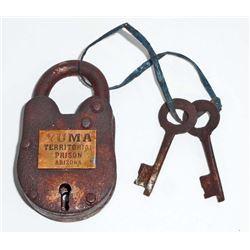 YUMA TERRITORY PRISON SMALL CAST IRON PADLOCK W/ KEYS