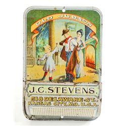 ANTIQUE TIN LITHO OLD JUDSON WHISKEY ADVERTISING MATCH BOX HOLDER / STRIKER