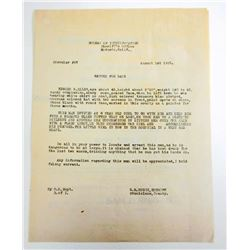 1925 ARREST WARRANT FOR A MAN WHO RAPED A CHILD - MODESTO CALIFORNIA