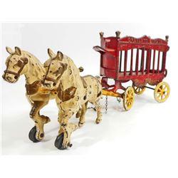 ANTIQUE CAST IRON OVERLAND CIRCUS HORSE DRAWN WAGON