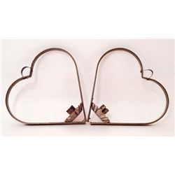LOT OF 2 C. 1940'S HEART-SHAPED TIN CANDLE HOLDERS