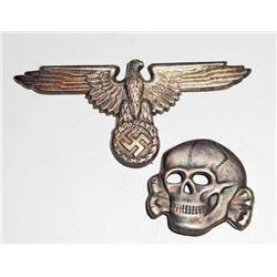 GERMAN NAZI WAFFEN SS OFFICERS VISOR CAP EAGLE & SKULL