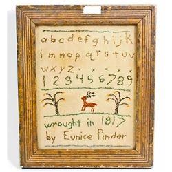 ANTIQUE 1817 CROSS STITCH SAMPLER - SIGNED EUNICE PINDER