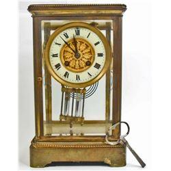 ANTIQUE FRENCH BEVELED GLASS & BRASS MANTLE CLOCK W/ MERCURY PENDULUM