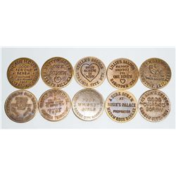 LOT OF 10 BRASS CAT HOUSE TOKENS