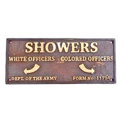 BLACK AMERICANA SEGREGATED SHOWERS CAST IRON SIGN