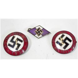 LOT OF 3 GERMAN NAZI ENAMELED PARTY BADGES