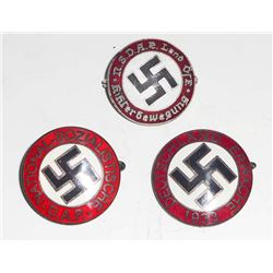 LOT OF 3 GERMAN NAZI ENAMELED POLITICAL PARTY BADGES