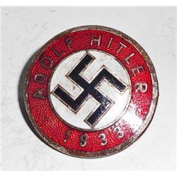 GERMAN NAZI ADOLF HITLER ENAMELED PARTY BADGE