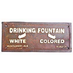 BLACK AMERICANA SEGREGATED DRINKING FOUNTAIN CAST IRON SIGN