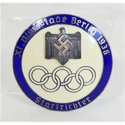 GERMAN NAZI BERLIN SUMER OLYMPICS STARTER BADGE