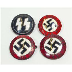 LOT OF 4 GERMAN NAZI POLITICAL ENAMELED PARTY BADGES