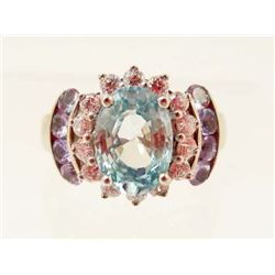 STERLING SILVER BLUE TOPAZ & IOLITE RING - SIZE 5.25