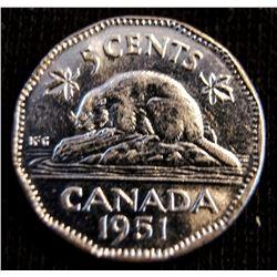 1951 Canada Nickel - Low Relief - UNC+