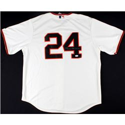 16f5bd84a Willie Mays Signed Giants Jersey Inscribed