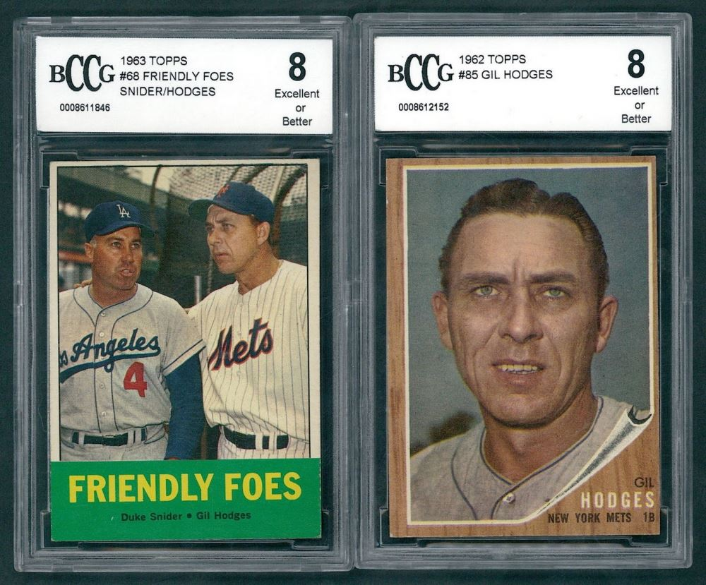Lot Of 2 Gil Hodges Bccg Graded 8 Baseball Cards With