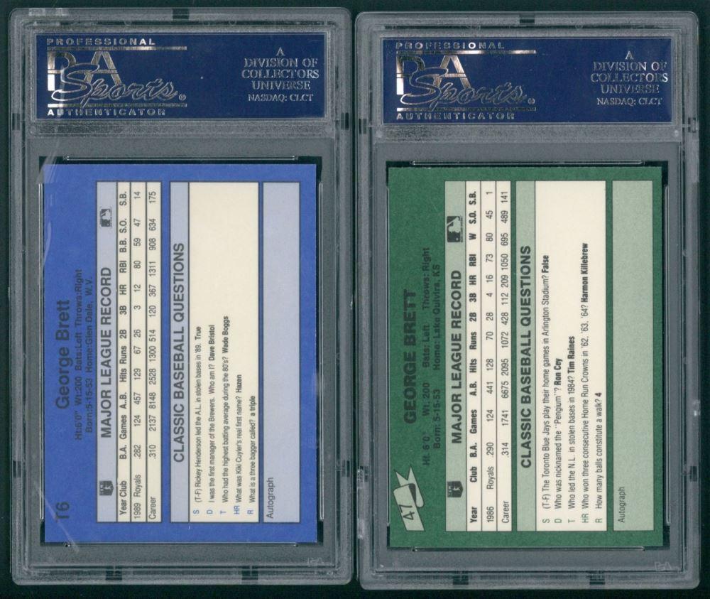 Lot Of 2 George Brett Psa Graded 9 Baseball Cards With 1990