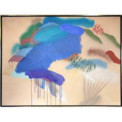 Catherine Warren, Abstract with Blue and Taupe, Acrylic and Japanese Paper Painting
