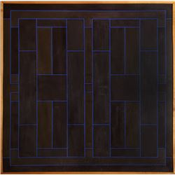 Peter Stroud, Blue on Brown Overlap, Painting