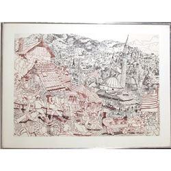 Red Grooms, Sarajevo, Marker Drawing