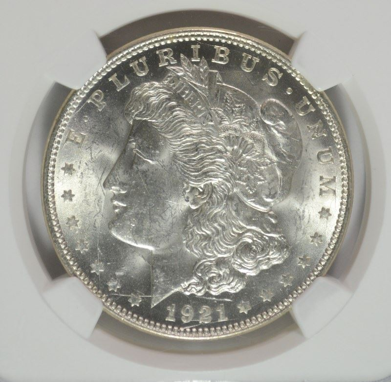 RARE MINT ERROR 1921 MORGAN SILVER DOLLAR, NGC