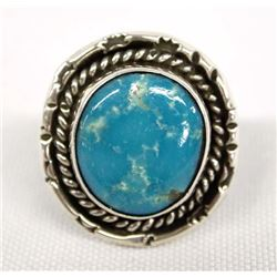 Navajo Sterling Silver Turquoise Ring, Size 6.5