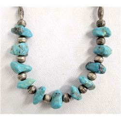 1940 Navajo Sterling Turquoise Nugget Choker