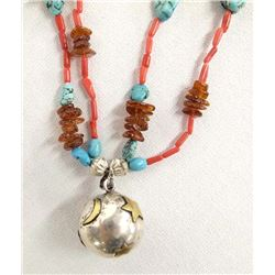 Turquoise & Coral Harmony Ball Beaded Necklace