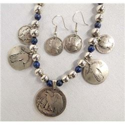 Southwestern Lapis and Coin Necklace & Earrings