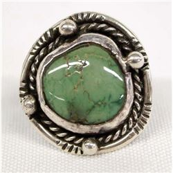 Navajo Sterling Silver Turquoise Ring, Size 6.75