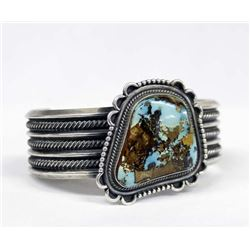 Navajo Sterling Turquoise Bracelet by R. Delgarito