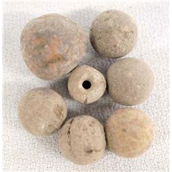 6 PreColumbian Clay Marbles and 1 Bead