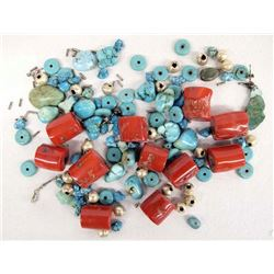 Turquoise & Coral Beads Plus Sterling Findings