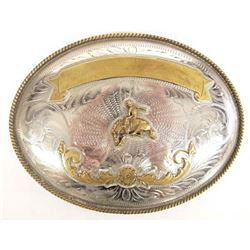 Large German Silver Cowboy Rodeo Trophy Buckle