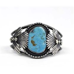 1950 Navajo Silver Red Mountain Turquoise Bracelet