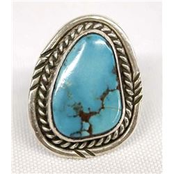 Navajo Sterling Silver Turquoise Ring, Size 5