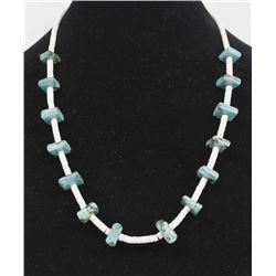 Navajo Graduated Square Turquoise Nugget Necklace