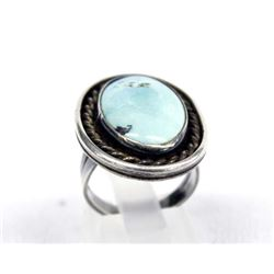 1950 Navajo Sterling Turquoise Ring, Size 6