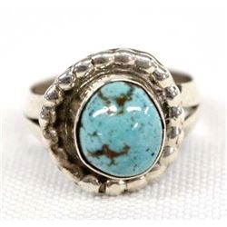 Navajo Sterling Turquoise Ring, Size 5.5