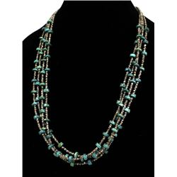 Navajo 4 Strand Turquoise & Heishi Necklace