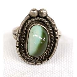 Navajo Sterling Silver Turquoise Ring, Size 7.5